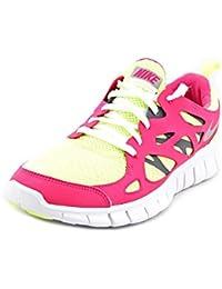 cheap for discount 77e2c 8336f Nike Girls Free Run 2 GS Running Shoes-VoltMetallic Silver-Vivid Pink