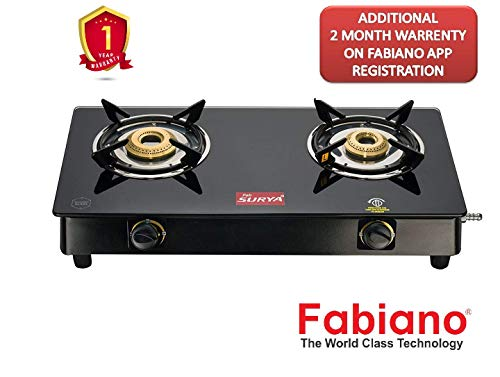 Fabiano Fab Surya FS-200 2 Burner(Brass) 7mm Toughened Black Glass top Gas Stove