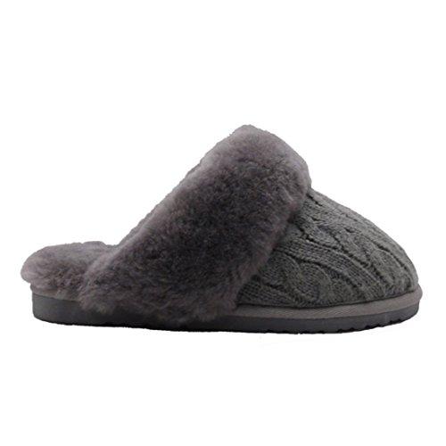 BamboBär Woll-/Lammfell Hausschuhe Damen Slipper Hüttenschuhe Pantoffeln Gefüttert (38, Grau) (Von Damen-teppich)