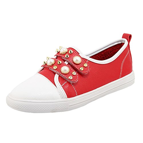 UH Femmes Chaussures a Talon Moyen de Plates DE 2 CM avec Perles et Rivets a la Mode Rouge