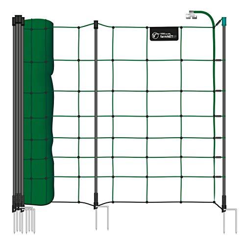 Voss.farming 1x Filet électrifiable farmNET+, Longueur 50 m, Hauteur 90 cm, 20 piquets, 2 Pointes, Vert/pour Moutons et chèvres