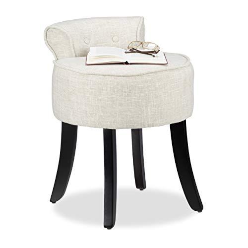 Relaxdays Stuhl mit niedriger Lehne, gepolstert, Sitzhocker m. Stoff-Bezug, rund, Holzbeine, HxBxT 61,5x44,5x47cm, Creme
