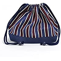 Drawstring Gokigen lunch (medium size) with gusset lunch bag British stripe Bordeaux x canvas, dark blue made in Japan N3446300 (japan import) preisvergleich bei kinderzimmerdekopreise.eu