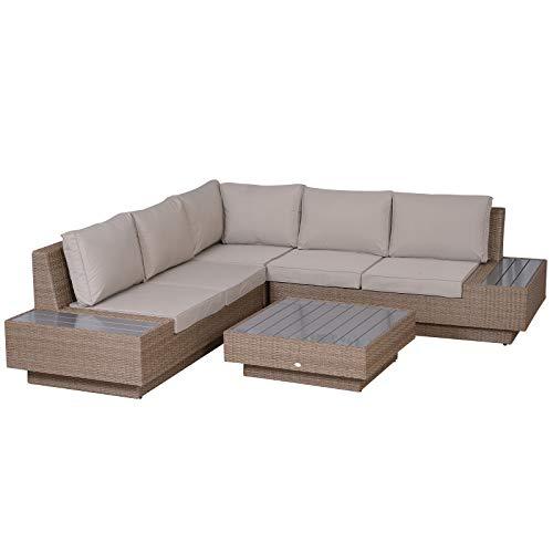 Outsunny 4 TLG. Luxus Polyrattan Gartengarnitur Gartenmöbel Garten-Set Sitzgruppe Loungeset Loungemöbel inkl. Seitentisch Sitzkissen
