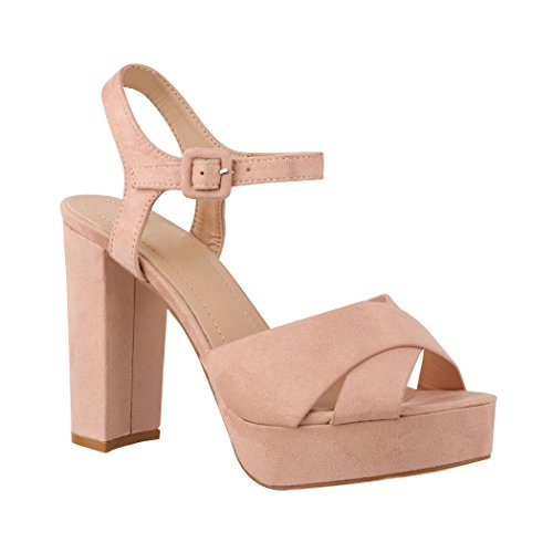 Elara Damen Pumps | Bequeme Peep-Toe Pumps | Trendige Plateau High Heels | Chunkyrayan AT0986 Pink-39