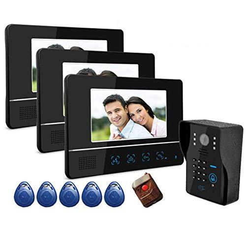 Starsou Video-TüRsprechanlage Mit 3-Draht-Videogegensprechanlage/ 7-Zoll-Farb-Monitor Und HD-Kamera Video-TüRklingel Wasserdichte IP55 Innenanzeige/ID/Passwort/Remote Unlocker 7-farb-video