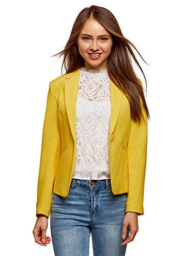 Chaqueta amarilla ajustada para mujer