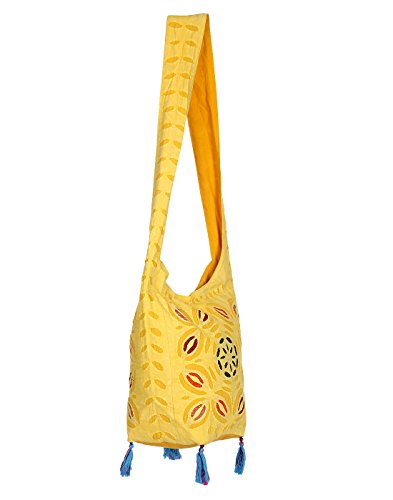 Yellow sling bag cotton or girls jhola bags rajasthani ethnic design embroidery Hand bag floral work for girl women Ladies by Rajrang  available at amazon for Rs.399