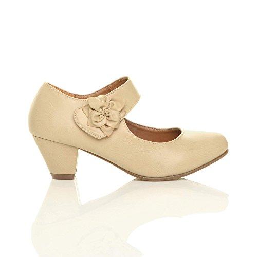 Femme talon moyen large babies cuir doublé confort escarpin chaussure pointure Nu beige