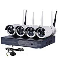 Wireless WiFi NVR CCTV DVR with built in router and 4 HD Wireless IP Security Camera System