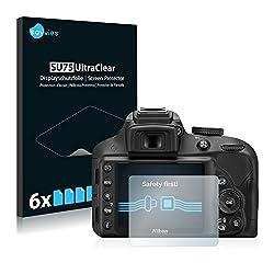 Savvies 6X Schutzfolie kompatibel mit Nikon D3300 Displayschutz-Folie Ultra-transparent