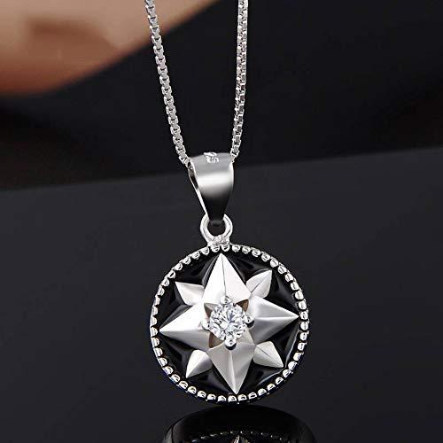 Thumby S925 Sterling Silber Halskette Temperament Eingelegten Zirkon Tropfen Öl Anis Stern Anhänger Weibliche Schlüsselbein Mode-Accessoires, Schwarz, Wie Gezeigt -
