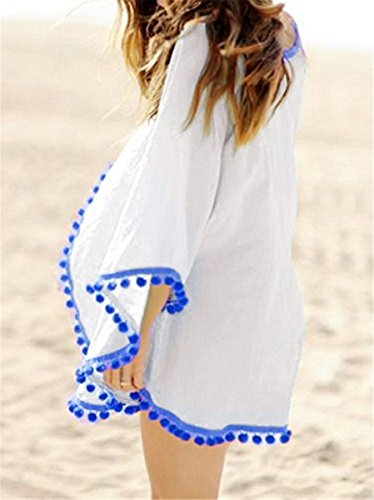IWFREE Damen Strandponcho Kaftan Poncho Strand Oberteile Tunika Beach Sexy Sommer Bikini Push up Strandkleid Loose Chiffon Sonnenschutz Beachwear Bikini Cover Up Weiß