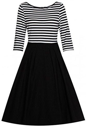 Eudolah Robe à rayures vintage trapèze swing femme Noir Blanc Noir