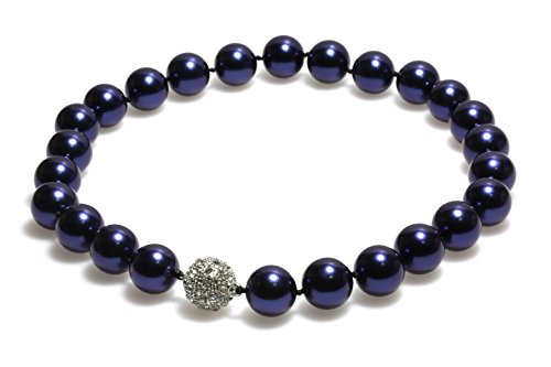 Schmuckwilly Collier de perles shell - Collier de perles shell bleu Collier les femme aimant fermoir dmk0011z
