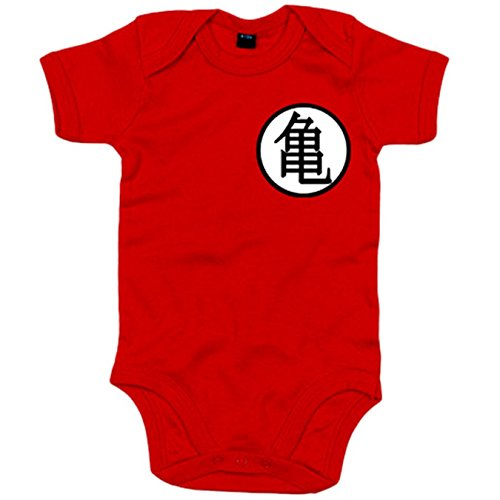 Body Bebé Dragon Ball logo Goku - Rojo, 6-12 meses