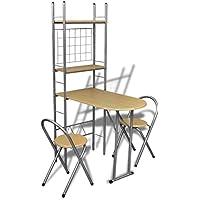 Anself - Set de bar plegable para el desayuno con dos sillas,color marrón claro,marco de acero