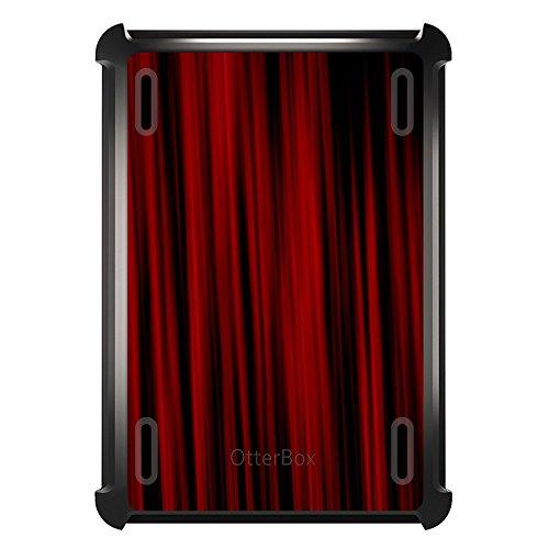 DistinctInk Fall für Ipad Air 2 Otterbox Defender Gewohnheits-Fall mit Abdeckung und Schirm-Schutz Helle Rote Vorhänge auf schwarz-Fall