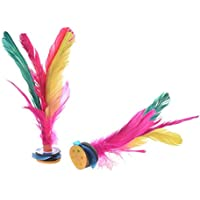 Jianzi chino - SODIAL(R) Jianzi chino volante de pluma colorido 2pzs