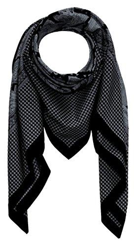 LORENZO CANA Quadratisches XL - Maennertuch aus Baumwolle kombiniert mit Seide 110 cm x 110 cm Naturfaser Luxus Marken Herren Schaltuch Halstuch Hahnentritt Herrentuch Paisley 8911611