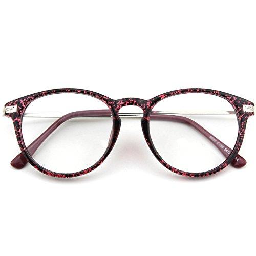 CN92 Klassische Nerdbrille rund Keyhole 40er 50er Jahre Pantobrille Vintage Look clear lens,Violett Spot