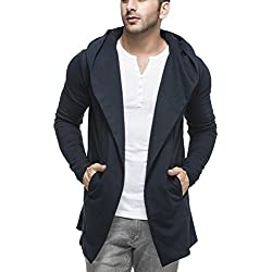 Tinted Men's Cotton Blend Hooded Cardigan TJ5401-NAVY-L