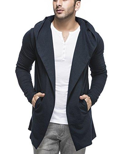 Tinted Men's Cotton Blend Hooded Cardigan TJ5401-NAVY-XL_MERCHANT