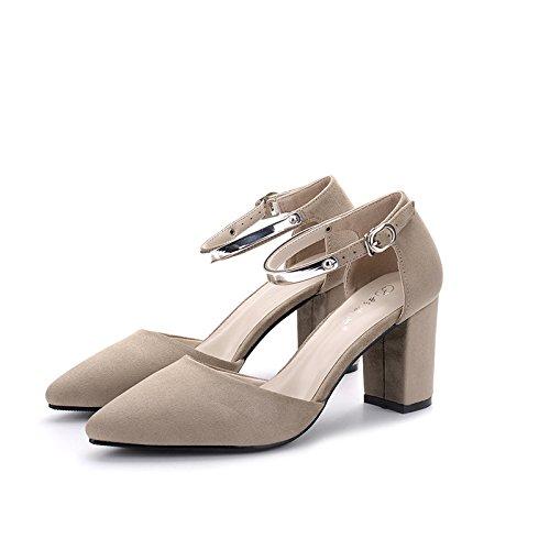 FLYRCX Personalità del mondo della moda, lady sharp, ruvida, tacco scarpe tacco, dimensione europea: 32-40 A