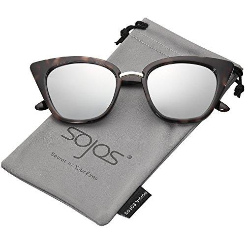 SOJOS Gafas De Sol Ojo De Gato Punte Metal SJ2052 (C9 Marco Carey Gris  fc90d0fd48fd