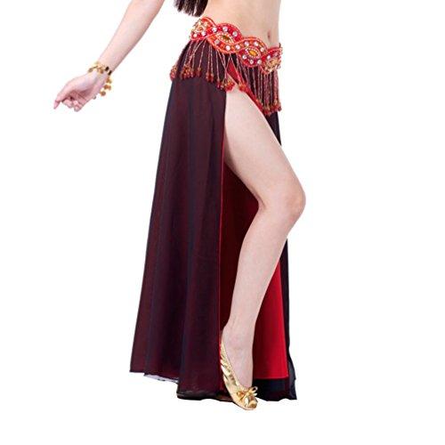 YouPue Bauchtanz Taille Kette Damen Tanzkostüm Bekleidung Zubehör Bauchtanzkostüme Bauchtanzperformance Kostüm BH Gürtel Rock Anzug Rock sexy indischen Tanz gehobenen Komfort Gürtel Kostüme Schwarz (Schwarze Kostüme Indische)