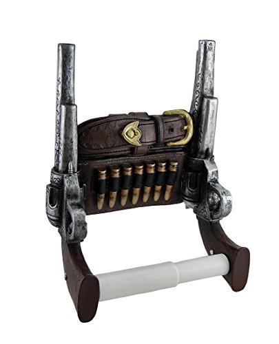 Wild West Sechs Shooter Double Pistols Toilettenpapierhalter von DWK | Western gungliner Holster Home Decor und Geschenke (Leder-gürtel Kleiderbügel)
