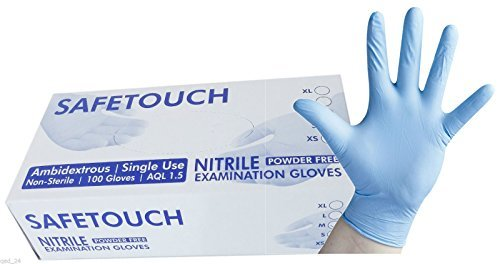 Nitrile Powder Free Blue Disposable Gloves Safetouch size Large pack of 100