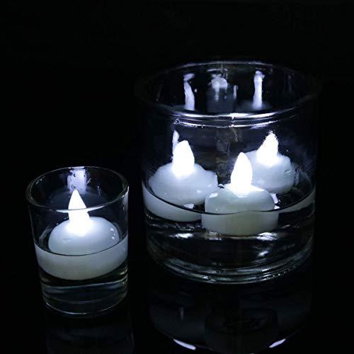 Sortim 12ocs Wasserfest Flameless Schwimmende Teelichter, Warmes Weiß Batterie Flackernd LED Tee Lichter Kerzen - Hochzeit, Party, Mittelstück, Pool & Spa - Kaltweiss, 1