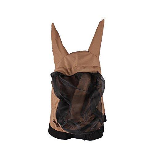 netproshop Pferd Zubehör Fliegenschutz Qualitäts Ekzemer Maske mit Ohren, Farbe:Braun, Groesse:M