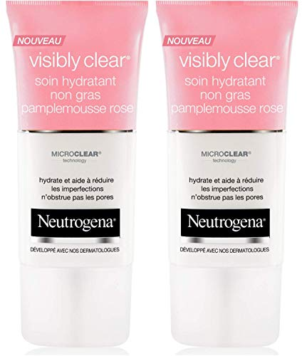 Neutrogena - Visibly Clear Soin Hydratant Non Gras - Pamplemousse Rose - 50 ml - Lot de 2