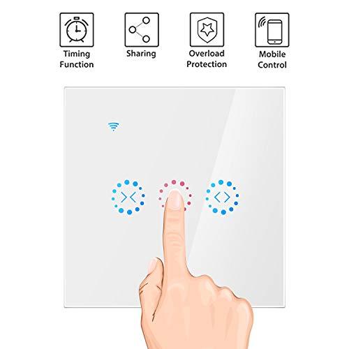OurLeeme Roller Shutter Switch, Smart WiFi Persiana Cortina Interruptor táctil Función de sincronización App Control de Voz Compatible con Alexa/Google Home (se Necesita Cable Neutro) (Blanco)