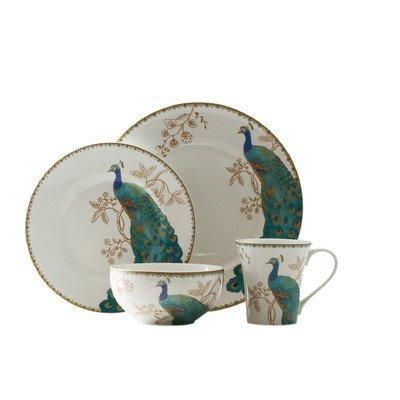 Peacock Garden 16 Piece Dinnerware Set by 222 Fifth - 222 Fifth Dinnerware