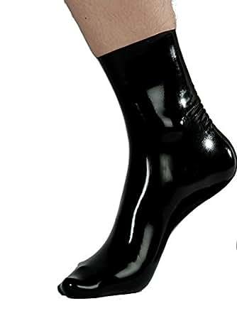 100% Latex Socken Herren Latexsocken Gummisocken Strümpfe Damen Gummi Söckchen , Farbe:Schwarz;Größe:XS