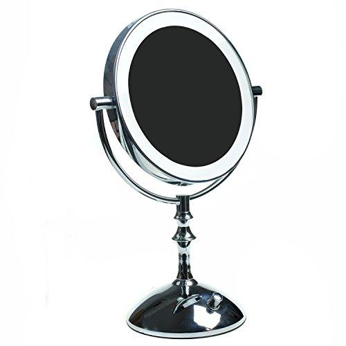HIMRY Slim LED Stand KosmetikSpiegel 8 Zoll 7x Vergrößerung, Stufenlos einstellbare Helligkeit,...