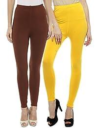 Sakhi Sang Leggings Pack of 2 : Chocolate Brown & Yellow