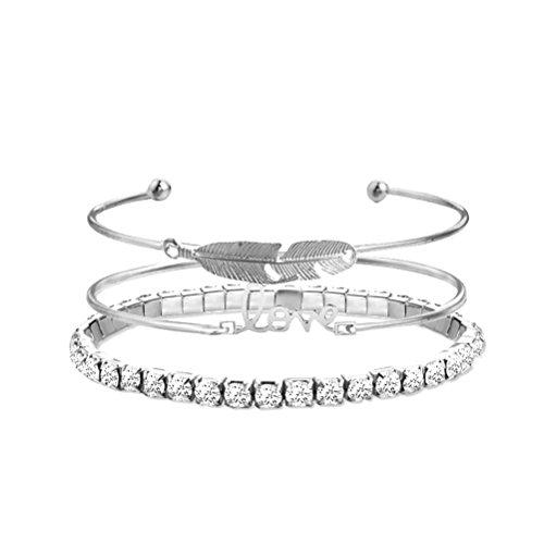 Armband-set Weibliche (LUOEM 3 Stücke Offene Strass Armreif Armband Set mit Blätter Gravur Form für Muttertag Geburtstag Hochzeitstag Jahrestag (Silber))