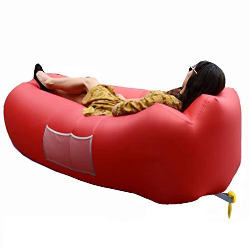 Aufblasbares Air Sofa, Luftsofa, Aufblasbarer Sitzsack, Wasserdichtes Aufblasbares Air Lounger mit Tragebeutel, zum Schlafen im Freien, im Innenbereich, Reisen, Camping,Strand oder bei Picknicks (Rot)
