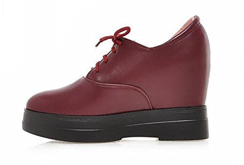 OL Oxford Lace-Up Platform Wedge High Heel Pumps Stiefeletten Round-Toe Frauen Casual Work Schuhe Europa Größe 34-39 Red
