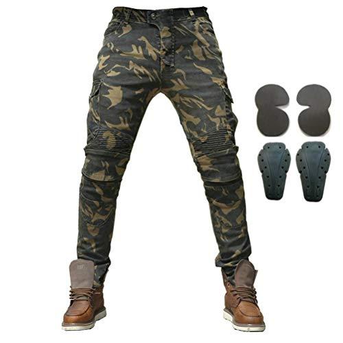 Armor Qtrees Jeans protettivi da Uomo in Denim con Armatura, 4 x Ginocchiere, Uomo, Camouflage, S=28