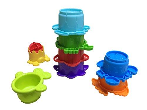 Infantino Wasserspielzeug Wassermühle, 8-teiliges Wasserspielzeug, Stapelbecher, Badespaß, mehrfarbig