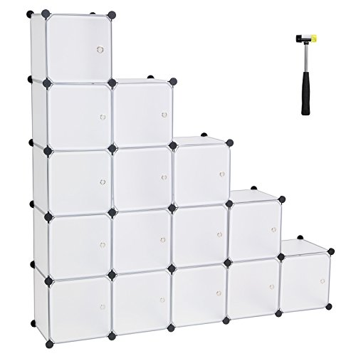 SONGMICS 16 Würfel DIY Regalsystem aus Kunststoff mit Türen in modischem Weiß, stabil und einfach...