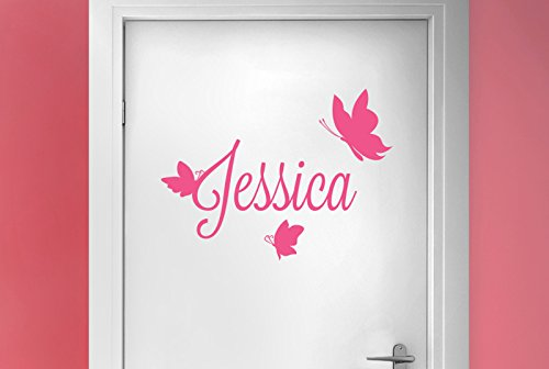 personnalise-first-name-with-three-butterflies-salle-porte-stickers-vinyle-pochoirs