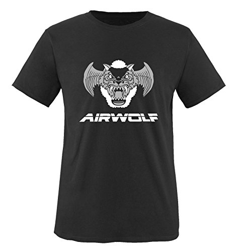 Airwolf - Logo III - Herren T-Shirt - Schwarz/Weiss-Grau Gr. L -