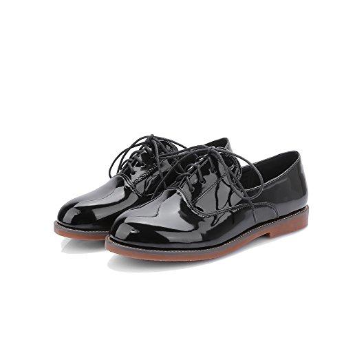 AllhqFashion Femme Pu Cuir à Talon Bas Rond Couleur Unie Lacet Chaussures à Plat Noir