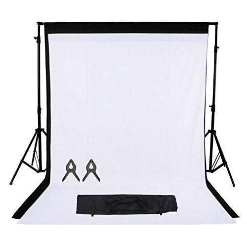 Phot-R 3x3m regolabile di sostegno del contesto schermo Heavy Duty professionale Photo Video Studio Tribuna Sfondi Kit Sistema 2x 3mx6m nero di tessuto non tessuto 2 Clip mussola Carry Bag